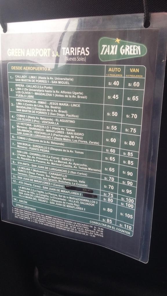 11 Preço dos taxis